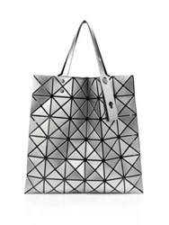 Issey Miyake Lucent Basic Faux Leather Tote White Black Silver