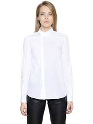 Diesel Black Gold Cotton Poplin Shirt W Off Center Collar White