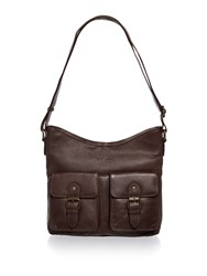 Barbour Leather Shoulder Bag Brown