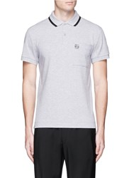 Mcq By Alexander Mcqueen Logo Print Chest Pocket Polo Shirt Grey