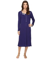 Eileen West Long Sleeve Waltz Nightgown Indigo Women's Pajama Blue