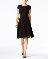 Alfani Petite Lace Fit And Flare Dress Only At Macy's Deep Black