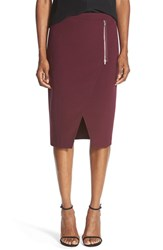Trouve Women's Trouve Wrap Front Pencil Skirt Burgundy Stem