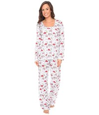 Carole Hochman Packaged Novelty Print Pajama Holiday Landscape Women's Pajama Sets White