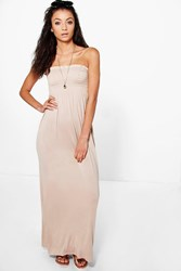 Boohoo Ivy Shirred Bandeau Maxi Dress Stone