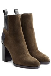 Sergio Rossi Suede Ankle Boots With Leather Green