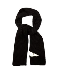 Fendi Bag Bugs Applique Wool Scarf Black