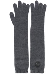 Dsquared2 Long Knit Gloves Grey