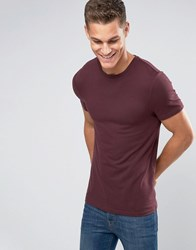 Asos Extreme Muscle T Shirt With Crew Neck And Stretch Oxblood Red
