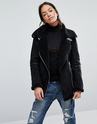 New Look Faux Borg Lined Aviator Jacket Black