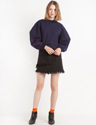 Pixie Market Denim Frayed Asymmetric Mini Skirt