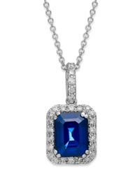 Effy Collection Velvet Bleu By Effy Manufactured Diffused Sapphire 1 3 4 Ct. T.W. And Diamond 1 4 Ct. T.W. Rectangular Pendant In 14K White Gold Blue