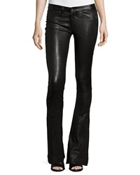 Rag And Bone Low Rise Bell Bottom Leather Pants Washed Black