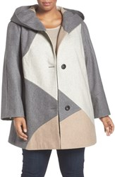 Gallery Plus Size Women's Colorblock Wool Blend Coat Oatmeal Multi