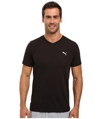 Puma Essential S S V Neck Black White Men's Short Sleeve Pullover