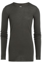 Rick Owens Men Long Sleeved Virgin Wool Top Grey