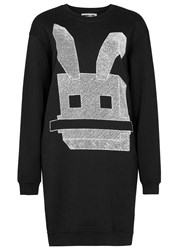 Mcq By Alexander Mcqueen Electro Bunny Embroidered Cotton Sweatshirt Dress Black