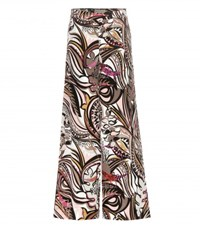 Emilio Pucci Printed Wide Leg Cropped Silk Trousers Multicoloured