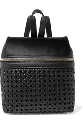 Kara Small Woven Leather Backpack Black