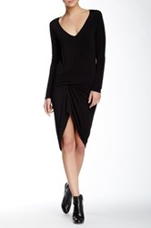 Riller And Fount Long Sleeve V Neck Pinched Front Mini Dress Black
