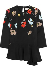 Preen Poppy Floral Print Stretch Crepe Peplum Top