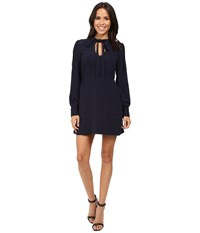 Adelyn Rae Woven Long Sleeve Fit And Flare Dress Navy Women's Dress