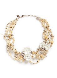 Erickson Beamon 'Winter Wonderland' Swarovski Crystal Glass Pearl Floral Statement Necklace Metallic White