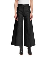 Isabel Marant High Waist Cropped Flare Leg Pants Black