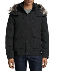 Lf Outerwear Hooded Down Jacket W Faux Fur Trim Black