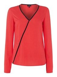 Armani Jeans Long Sleeve V Neck Top With Contrast Piping Red