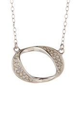 Judith Jack Sterling Silver Glitter Links Pave Oval Pendant Necklace Metallic