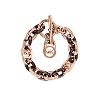 Michael Kors Rose Gold Tone And Acetate Chain Link Bracelet