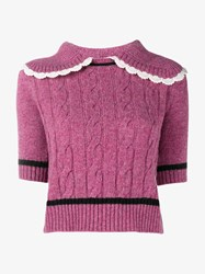Miu Miu Wool Jumper With Lace Trimmed Collar Pink White Black