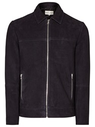 Reiss Murray Suede Collared Jacket Navy