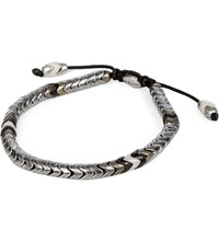 M Cohen African Glass And Sterling Silver Navajo Bracelet Silver White