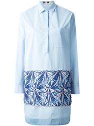 Msgm Embroidered Detail Shirt Dress Blue