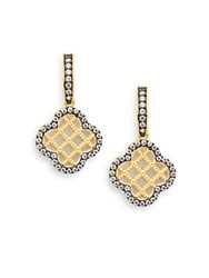 Freida Rothman Mother Of Pearl Caged Clover Drop Earrings Gold
