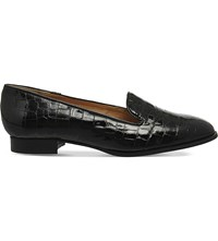 Office Rita Crocodile Embossed Patent Leather Slippers Black Patent Leather