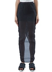 Rick Owens Long Cloque Column Skirt Black