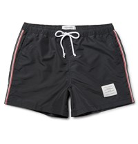 Thom Browne Grosgrain Trimmed Short Length Swim Shorts Black
