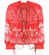 Etro Printed Chiffon Blouse Red