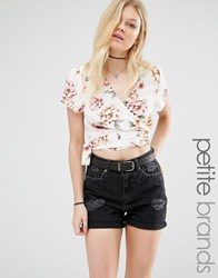 New Look Petite Floral Wrap Crop Top White Pattern