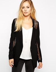2Nd Day Blazer With Fine Lace Detail Black