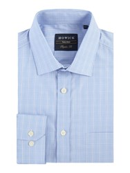 Howick Ashland Prince Of Wales Check Shirt Blue