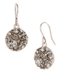 Kenneth Cole Pave Silvertone Circle Drop Earrings