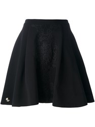 Philipp Plein Pleated Lace Detail Skirt Black