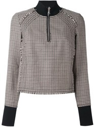 3.1 Phillip Lim Longsleeved Houndstooth Top Brown