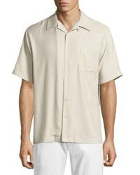Neiman Marcus Solid Twill Short Sleeve Sport Shirt Pebble