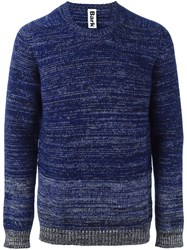 Bark Melange Striped Jumper Blue