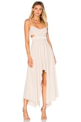 Halston Hi Low Asymmetric Dress Beige